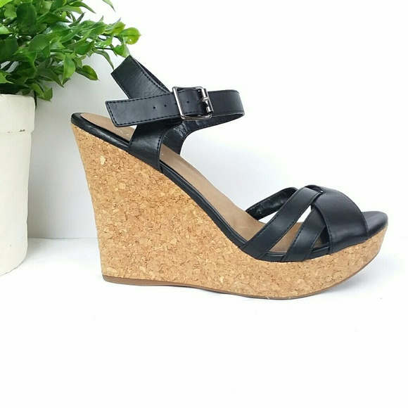 08a1a5bb0a Aldo Shoes | Black Criss Cross Strap Cork Wedge Sandal | Poshmark
